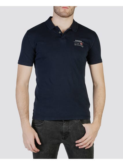 Navy Single Button Polo Shirt