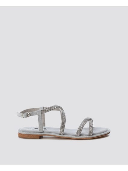 White Rhinestones Flat Sandals