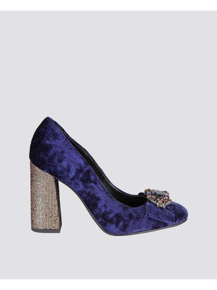 Blue Bow Jewellike Pumps