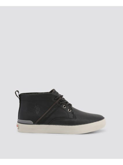 Black Anson Leather High Top Sneakers