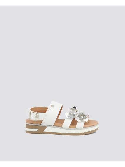 White Flower Patch Kids Sandals