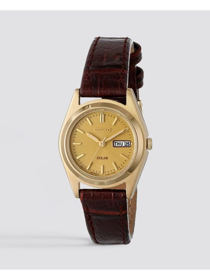 Brown Solar Leather Watch