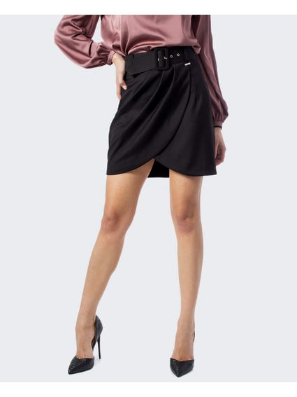 Wrap Front Belted Skirt