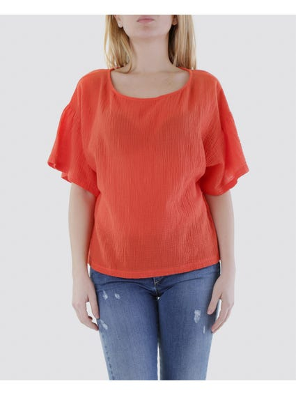 Plain Crew Neck Wide Sleeves Top