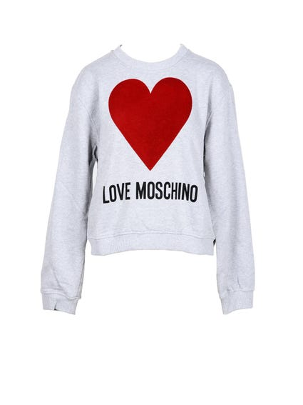 Crew Neck Heart Print Sweatshirt
