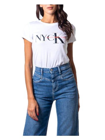 White Cap Sleeve Graphic T-shirt