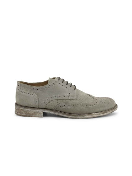 Grey Suede Brogue Lace Up Shoes