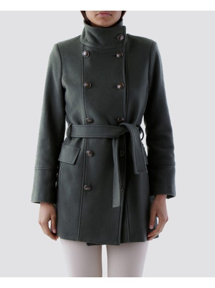 Belted Double Layered Button Coat