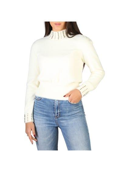 White Turtleneck Studs Knitwear