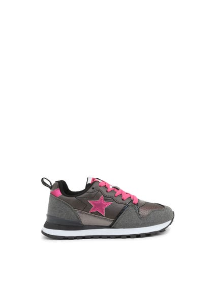 Grey Round Toe Star Lace Up Kids Sneakers
