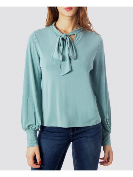 Tie Neck Long Sleeves Top