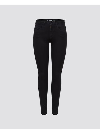 Black Denim Mid Rise Skinny Jeans