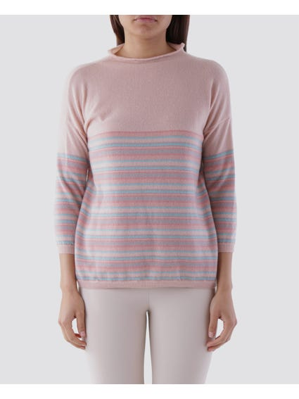 Pink Stripe High Neck Knit Top