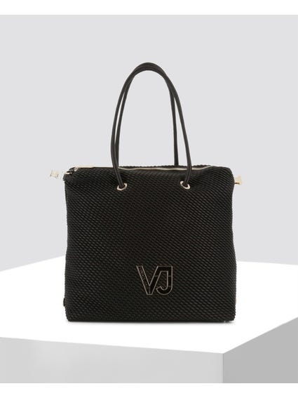 Black Textured Leather Shopper Bag