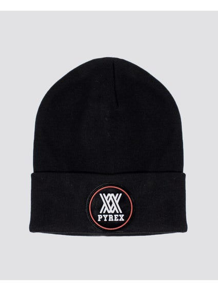 Black Embroider Logo Knitted Beanie
