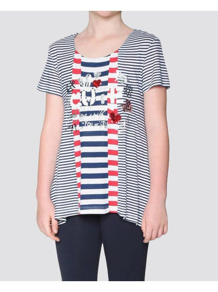 Michigan Stipes Kids Top