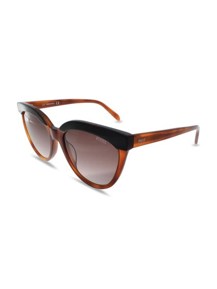 Brown Wood Round Rim Sunglasses
