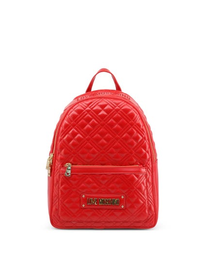 Red Quilted Zip Backpack