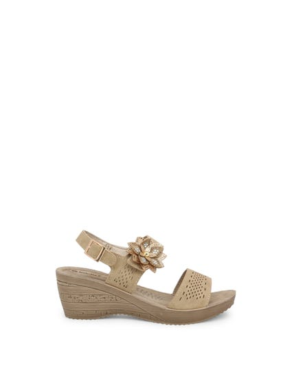Brown Velcro Strap Floral Wedge Sandals