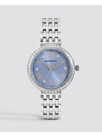 Silver Patterned Analog Watch