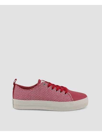 Pink Trixy Weave Pattern Sneakers
