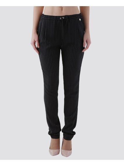 Black Thin Stripes Pants