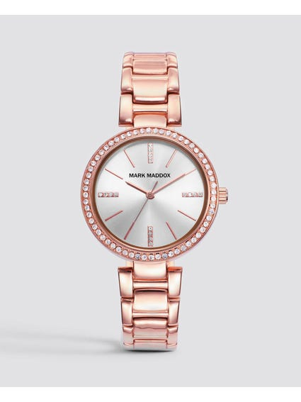 Rose Gold Crystal Stainless Steel Watch