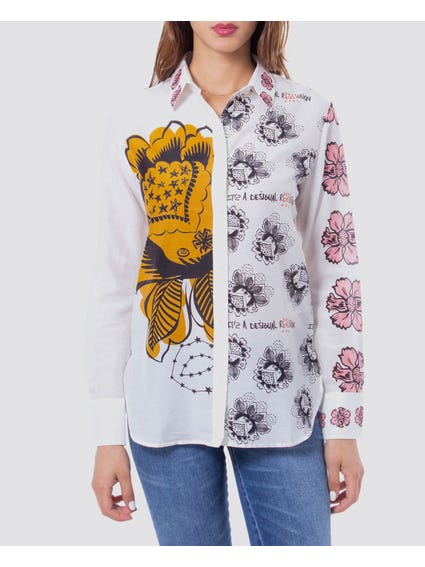 White Floral Printed Silk Shirt