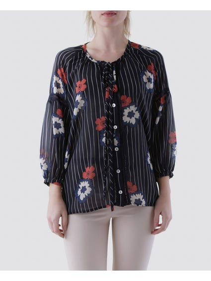 Stripe Floral Blouse