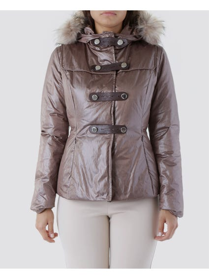 Brown Fur Strap Closure Jacket