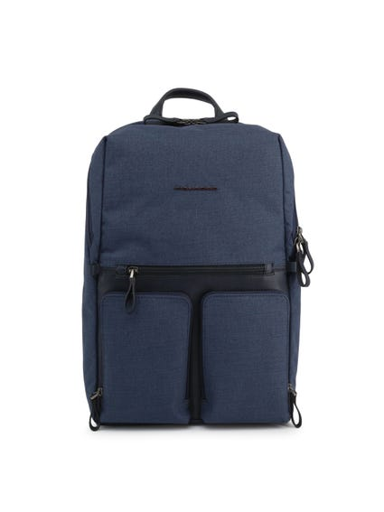 Blue Zipper Logo Pocket Backpack