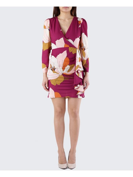 V Neck Floral Long Sleeves Dress