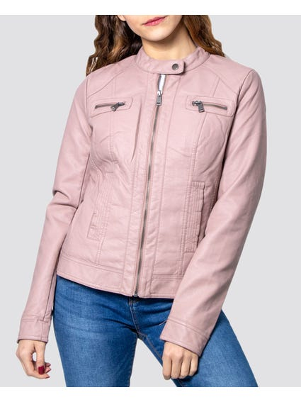 Pink Zip Closure Leather Jacket
