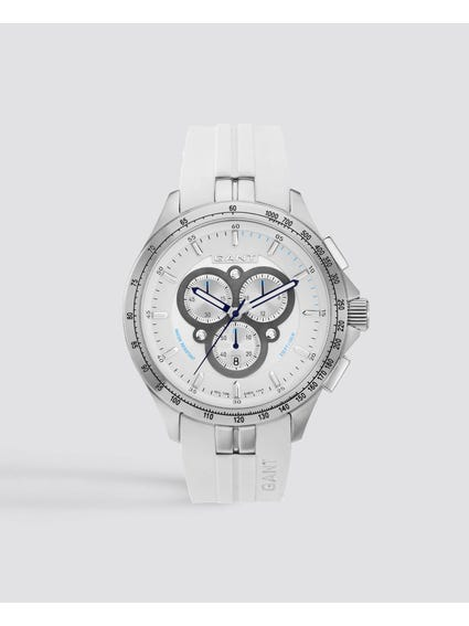 White Ashton Chronograph Rubber Watch