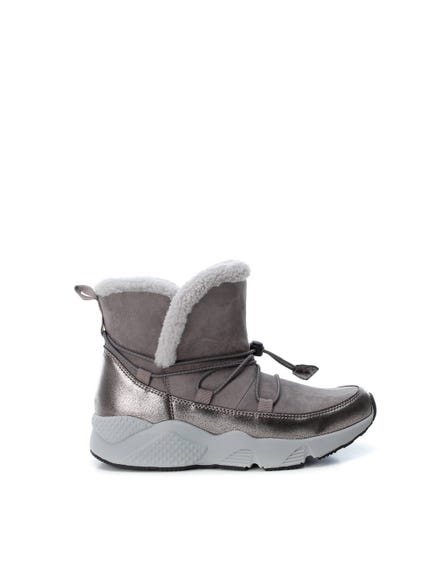 Grey Metallic Fur Ankle Boots