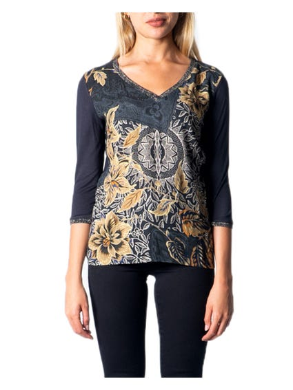 V Neck Long Sleeve Printed Top