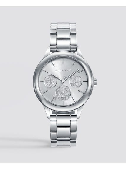 Polished Silver Dial Stainless Steel Watch