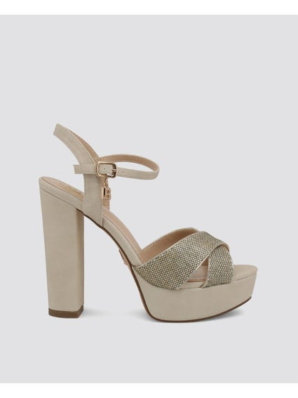 Beige Crossover Leather Sandals