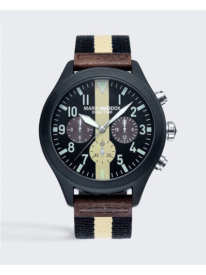 Black Fabric Strap Analog Watch