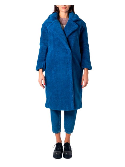 Navy Blue Evelin Long Teddy Coat