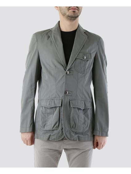 Grey Up to Waist Jacket with Big Open Pockets