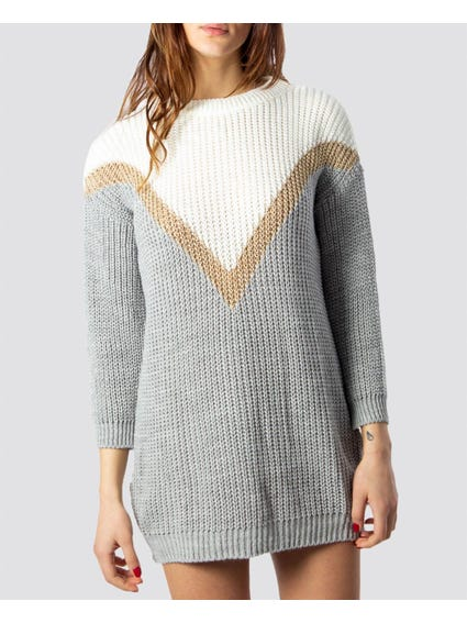 Grey Ribbed Knitted Dress