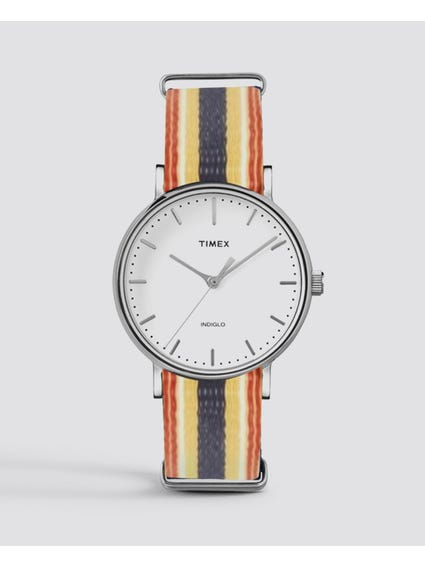 Silver Multi Fairfield Fabric Strap Quartz Watch