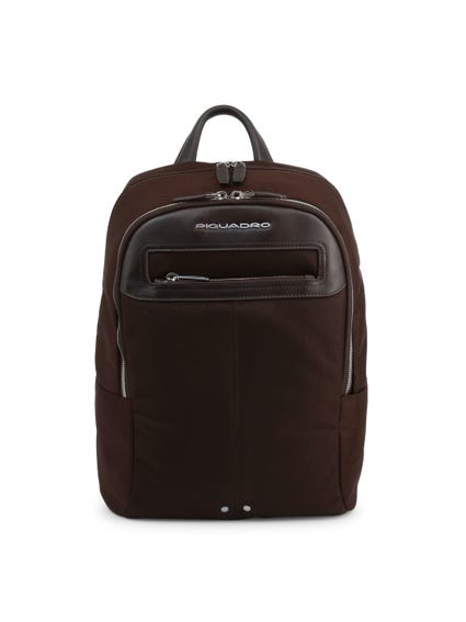 Brown Handle Multi Zipper Pocket Backpack