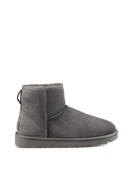 Grey Round Toe Fur Ankle Boots