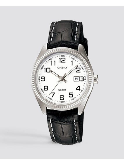 White Dial Leather Strap Analog Watch