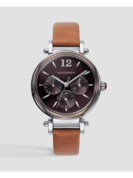Classic Analog Brown Dial Leather Watch