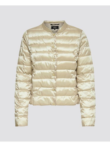 Beige Button Closure Padded Jacket