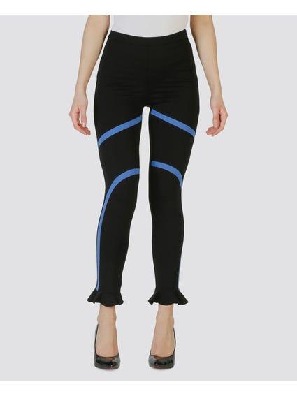 Black Contrast Print Trouser