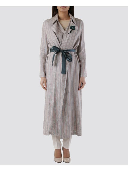 Long Sleeve Self Tie Maxi Dress